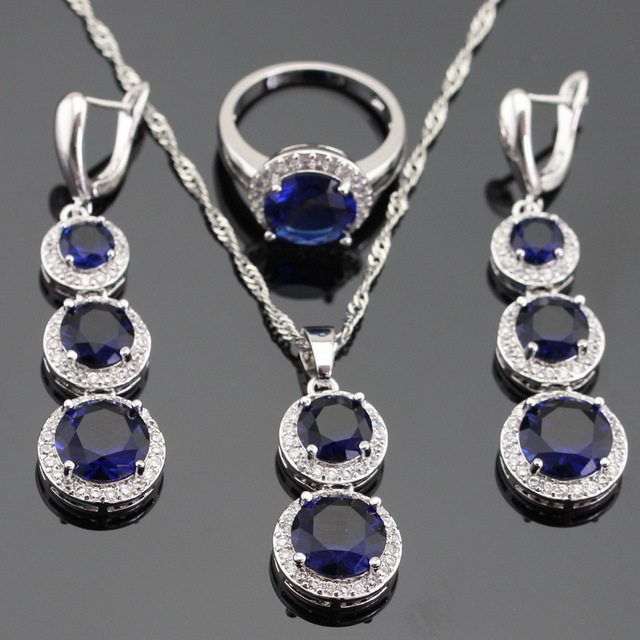 Silver Color Jewelry Sets Round Blue Created Sapphire White CZ For Women Necklace Pendant Long Earrings Rings Free Gift Box