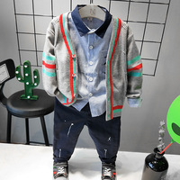 3pcs Boys spring autumn clothing set kids fashion sweater striped shirt and dark blue pant set baby all match clothes