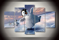 5 panel Unframed Printed Cartoon happy feet two Group Painting children's room decor print poster picture canvas Free shipping