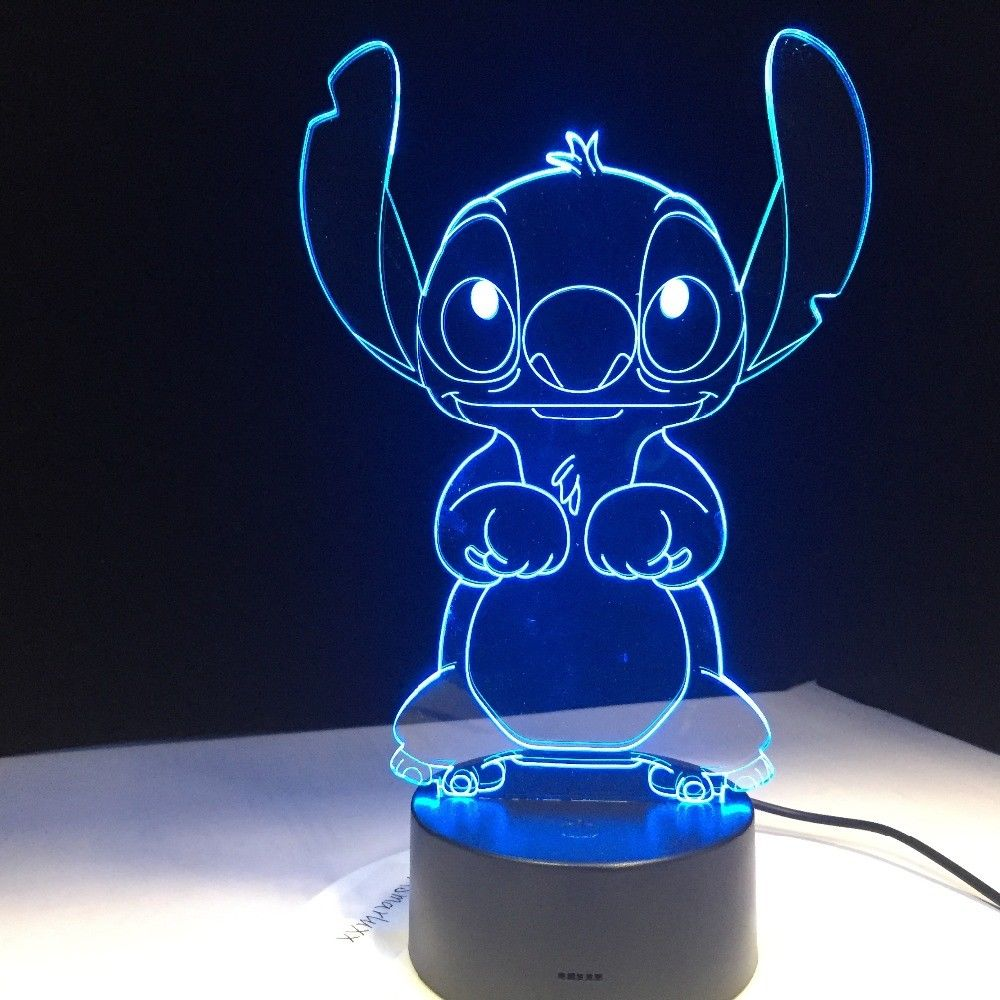 Cartoon Stitch 3D Lamp Bedroom Table Night Light Acrylic Panel USB Cable 7 Colors Change Touch Base Lamp Kids Gift цена