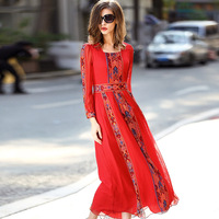 2018 Summer Autumn Women's Dresses Pleated dress Europe High grade Embroidered Real silk Long Dress Pure silk Bohemian Dress