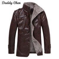 Winter Warme Lederjacke Männer Mäntel Marke Hohe Qualität PU Breasted Oberbekleidung Kunstpelz Männlich Jacken Anzug Mantel