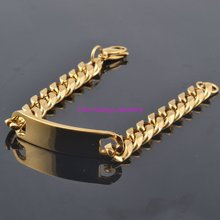 Newest Jewelry Charming Hot Men's ID Bracelet 15mm Stainless Steel Gold Tone Chain Bracelets For Men 8.66″ High Quality