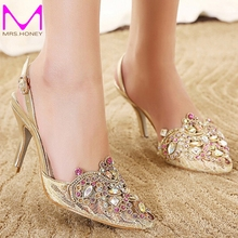 2016 Gold Spring Summer Lace Pointed Toe Wedding Shoes Slingbacks Sandals Sexy Lady Single High Heels Women Party Prom Pumps