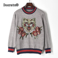 Dooratu Fall Winter Women O Neck Leopard Pattern Sequin Gray Pullovers Female Fashion Floral Appliques Lurex