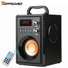 TOPROAD 20W Big Power Bluetooth Speaker Portable Stereo Bass Wireless Party Speakers with Remote Control FM Radio Mic TF AUX USB leory 220v bluetooth speaker led light display 15inch big power subwoofer speaker with mic tf remote control player