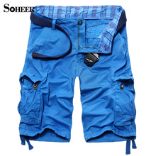 SOHEER Summer High Quality Top Fashion Multi-Pocket Pants Male Loose Tooling Pants 100% Cotton Cargo four Colors Big Size 29-38