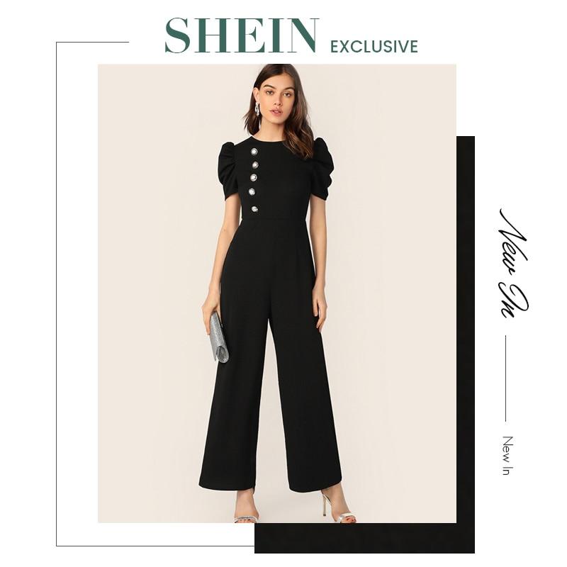 SHEIN Button Embellished Puff Sleeve Wide Leg Jumpsuit Elegant Spring Autumn Women Short Sleeve High Waist Jumpsuit 6
