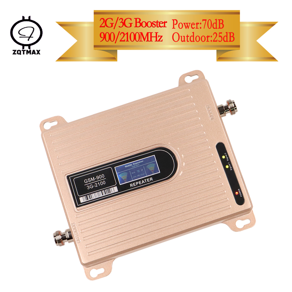 ZQTMAX GSM 3G W-CDMA 2100mhz Dual Band Cell Phone Signal Booster LCD Display GSM 900 WCDMA 2100 Mobile Signal RepeaterZQTMAX GSM 3G W-CDMA 2100mhz Dual Band Cell Phone Signal Booster LCD Display GSM 900 WCDMA 2100 Mobile Signal Repeater