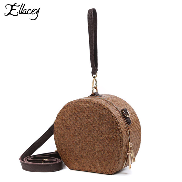New 2019 Summer Mori Girl Round Mini Shoulder Bags Small Straw Knitting  Handbag Women Scarves Circular 65d0e532d8860