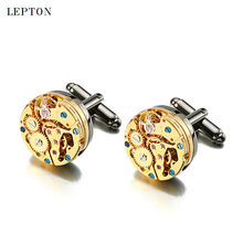 2017 New Gold Watch Movement Cufflinks for immovable Stainless Steel Steampunk Gear Watch Mechanism Cuff links for Mens gemelos