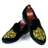 Men Casual Shoes Green Velvet Loafers Prince Albert Slippers Handmade Embroidered Footwear