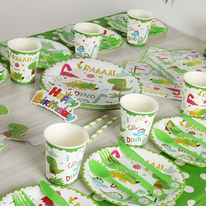 Image 2 - The dino dinosaur party supplies for children birthday party 114pcs/lot party supplies of table cloth cups forks napkins