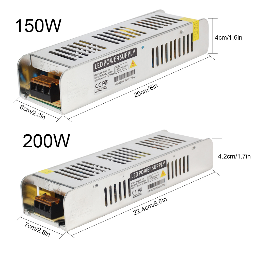 12V Lighting Transformer 5A-30A Switching Power Supply 60W 120W 150W 200W 250W 360W LED Driver Adapter for LED Strip Light