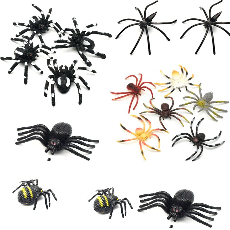 10pcs PVC Artificial Simulation Plastic Bugs Fake Spiders For Halloween Party Favors Decoration Novelty & Gag Toys
