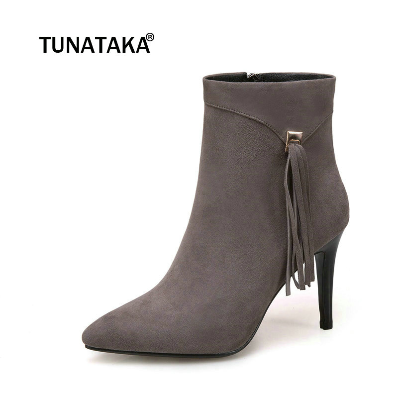 Ladies Fashion Side Zipper Thin High Heel Ankle Boots Women Suede Side Zipper Pointed Toe Winter Shoes Gray Black fashion rivet thin high heel genuine leather ankle boots women side zipper pointed toe winter shoes black wine red