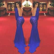 Sexy High Neck Long Sleeve Lace Prom Dresses Mermaid Backless 2014 Royal Blue Evening Party Gowns with Train