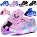 Nuevo llegado niños sneakers shoes shoes chicas chicos ala luz led con rueda, kids roller skate shoes tamaño 27-43