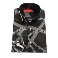 Negro con gris impreso/blanco cadena MK del hombre de moda casual camisa de VERANO vestido hecho a medida a medida MTM blusa 2018 VA