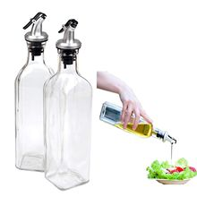 Cruet Oil Dispenser Glass Bottle for Cooking Container Spout Oil Dispenser Bottle Set for Kitchen,with Lever Release Pourer,17