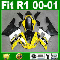 Yellow white black fairings for YAMAHA R1 2000 2001 cheap fairing kit YZFR1 00 01 1000 YZF R1 bodywork kits plastic parts