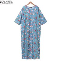ZANZEA Women O Neck 3 4 Sleeve Bird Print Loose Casual Cotton Linen Party Tunic Maxi