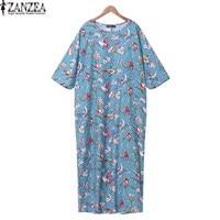 ZANZEA Women O Neck 3 4 Sleeve Bird Print Loose Casual Cotton Linen Party Tunic Maxi