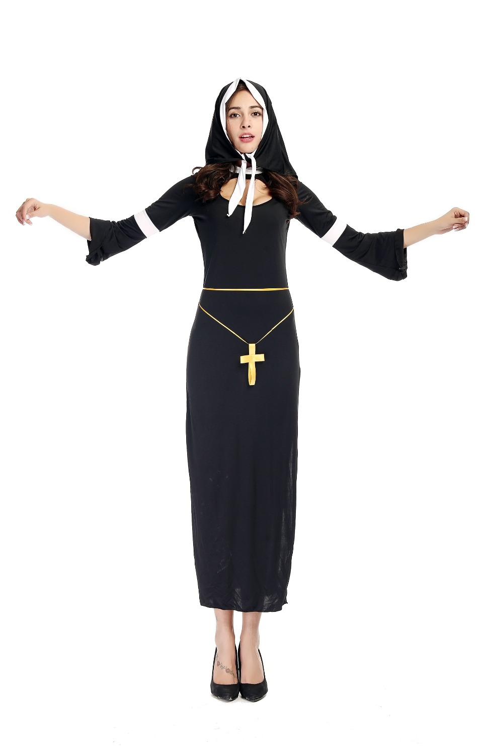 Free Shipping Adult Women Sexy Catholicism Nun Costume Uniform The Virgin Mary Roleplay Black Dress Halloween Costumes