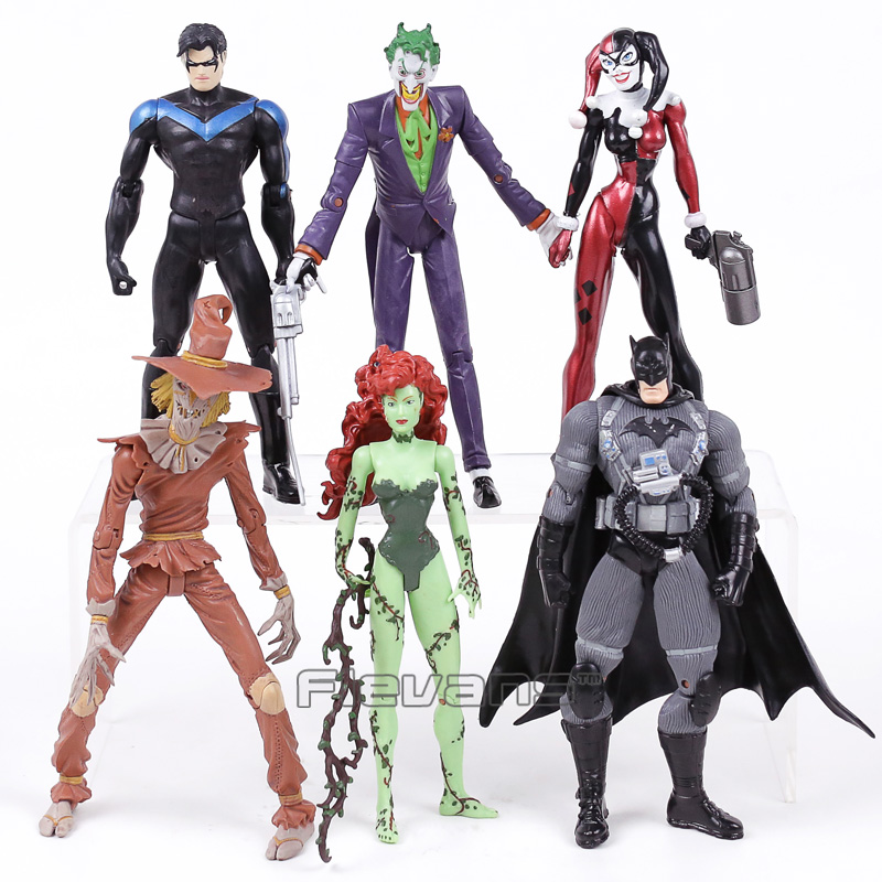 DC COMICS Batman The Joker Harley Quinn Nightwing Poison Ivy Scarecrow PVC Action Figures Toys 6pcs/set dc comics batman the joker pvc action figures collectible model toys 4pcs set 12cm