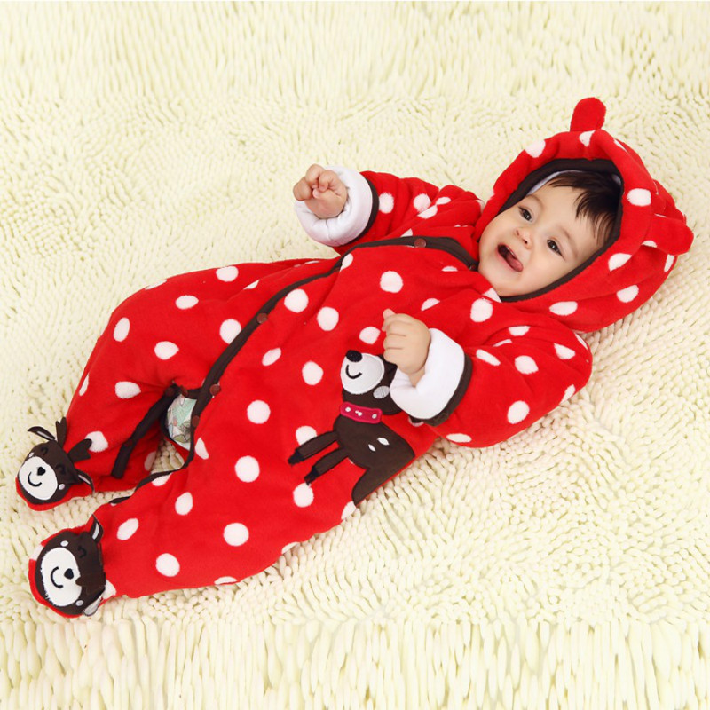 New Baby Winter Romper Cotton Padded Thick Newborn Baby Girl Warm Jumpsuit Autumn Fashion baby's wear Kid Climb Clothes new winter 2015 women cotton padded clothes draw string of cultivate one s morality show thin fashionable