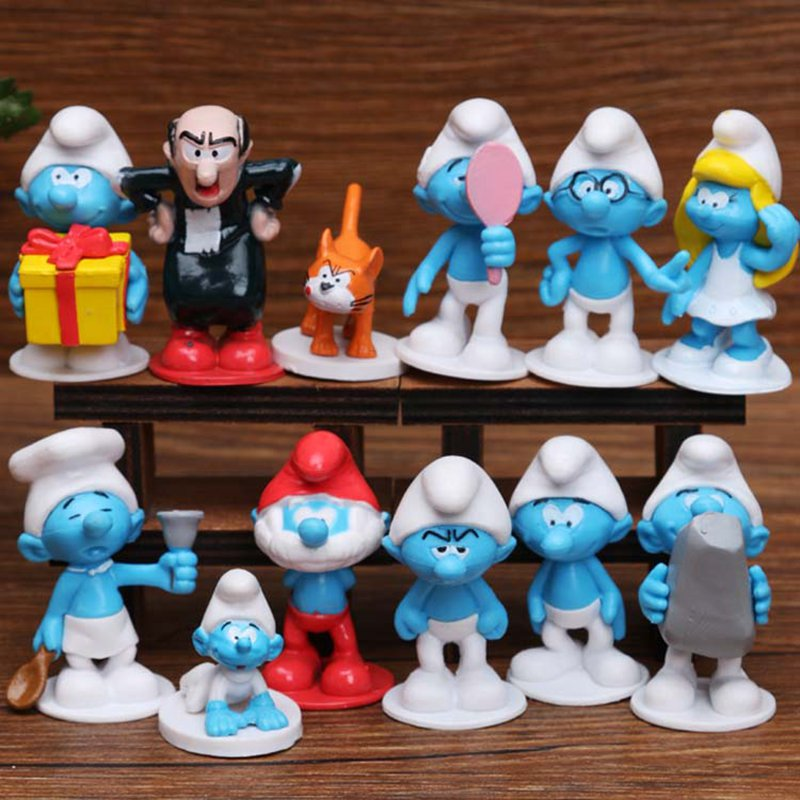12pcs /lot Elves Papa model Elves Papa Smurfette Clumsy Figures Elves Papa Action Figure Toys for children gift Birthday mr clumsy