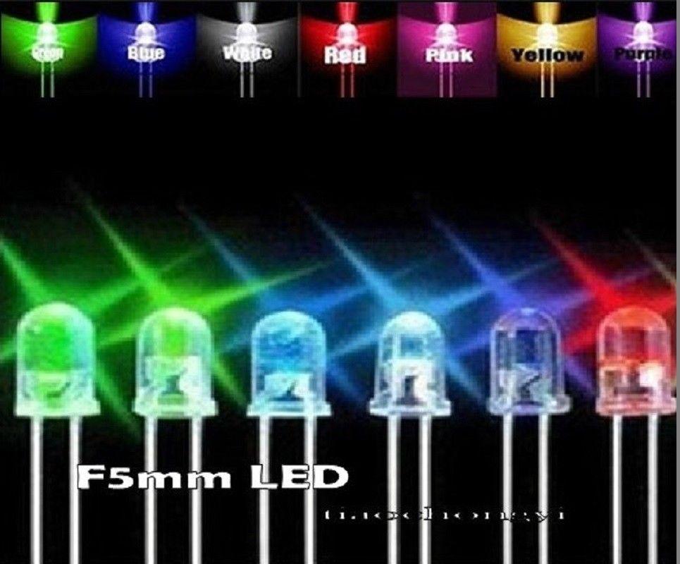 500pcs 3mm 5mm Red Yellow Green Blue White LED Assortment Kit +1/4w Resistors 1000pcs 1 4w metal film resistors 750kohm 1