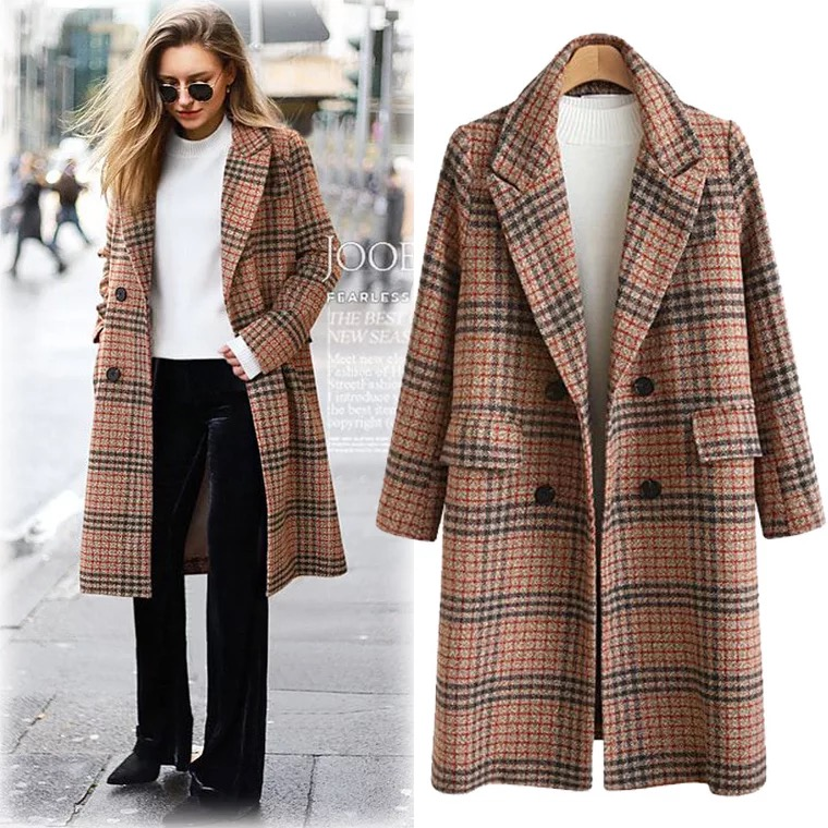 Women's new fashion autumn and winter large size turn-down collar coats and   trenches   with long sleeves and plaids