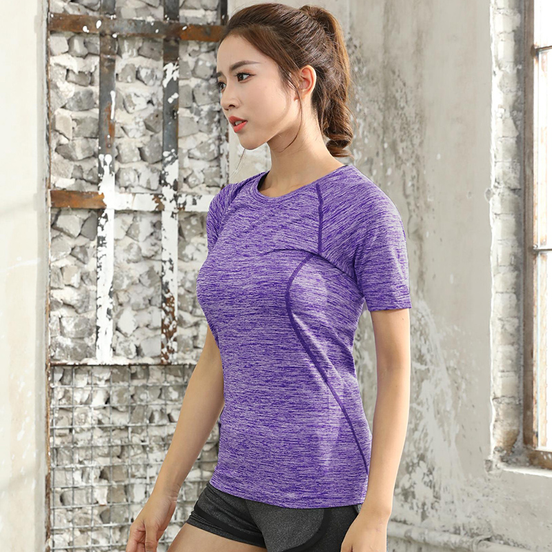 2018 Yoga Women Stripe Sport T-shirt Running Quick Drying Sweatshirt Gym Jogging Elastic T shirt Fitness Tee Top Short Sleeves red stripe pattern off shoulder t shirt with frill details