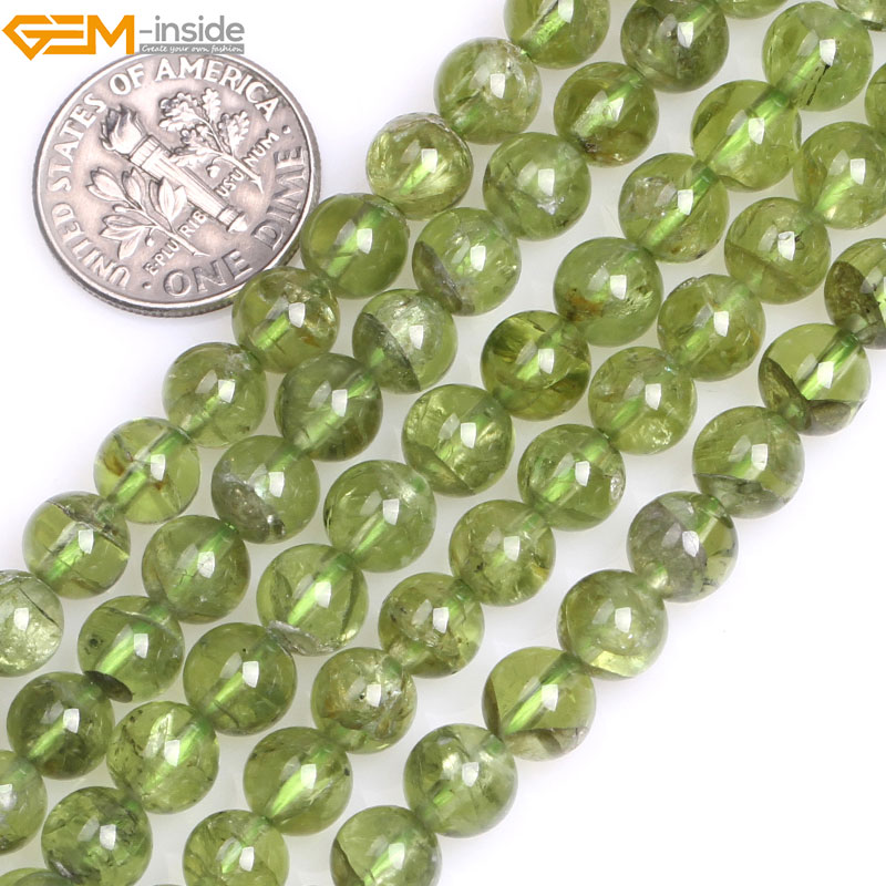 Gem-inside 7-8mm Natural Stone Beads Round Green Peridot Quartz Beads For Jewelry Making Beads 15 DIY Beads Jewellery
