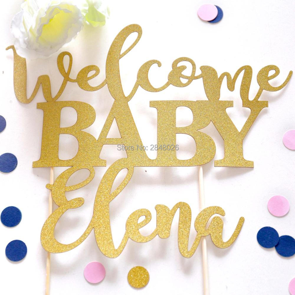 Welcome Baby Cake Topper, Gold Baby Shower Cake Topper, Personalized ...