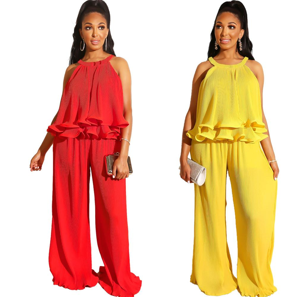 Adogirl Off Shoulder Spaghetti Strap Casual Two Pieces Sets Petal Ruched Layered Suits Solid Wide Leg Pants Loose Leisure Set