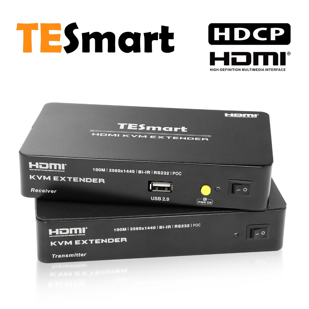TESmart 328 Ft HDMI KVM Extender Over Single Cat5e/cat6 Cable 4K@30HZ 1080P With IR Remote Support Extra USB 2.0 RS232