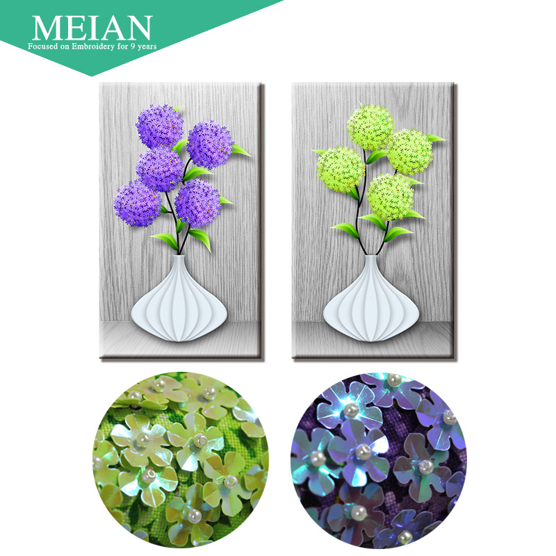 Meian special shaped diamond embroidery flower vase d