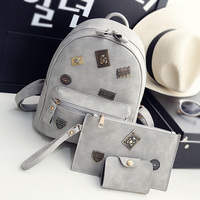 Fashion Women Leather Backpacks Badge Element Feminine School Bag For Girls Composite Bags Appliques Female Backpacks
