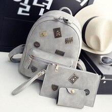 Mujeres de la manera mochilas de cuero insignia elemento femenino mochilas bolso de escuela para niñas bolsas compuestas apliques femenina
