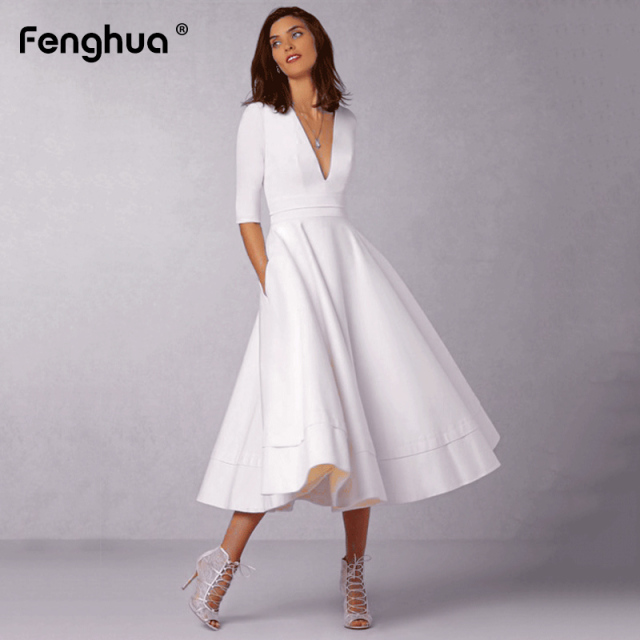 Vintage Spring Winter Dress Women 2019 Casual Plus Size Elegant Ball Gown Party Dress Female Sexy V Neck Long White Dress 3XL