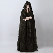 Devil Fashion Punk Gothic Long Black Lace Hooded Cloak Cape for Women Dark Halloween Wizard Costume Full Length Witch Trench