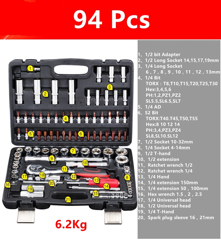ФОТО Socket wrench Set Car Repair Tool Ratchet Torque Wrench Combo Tools Kit Auto Repairing Gator Grip Wrenches Hand Tools