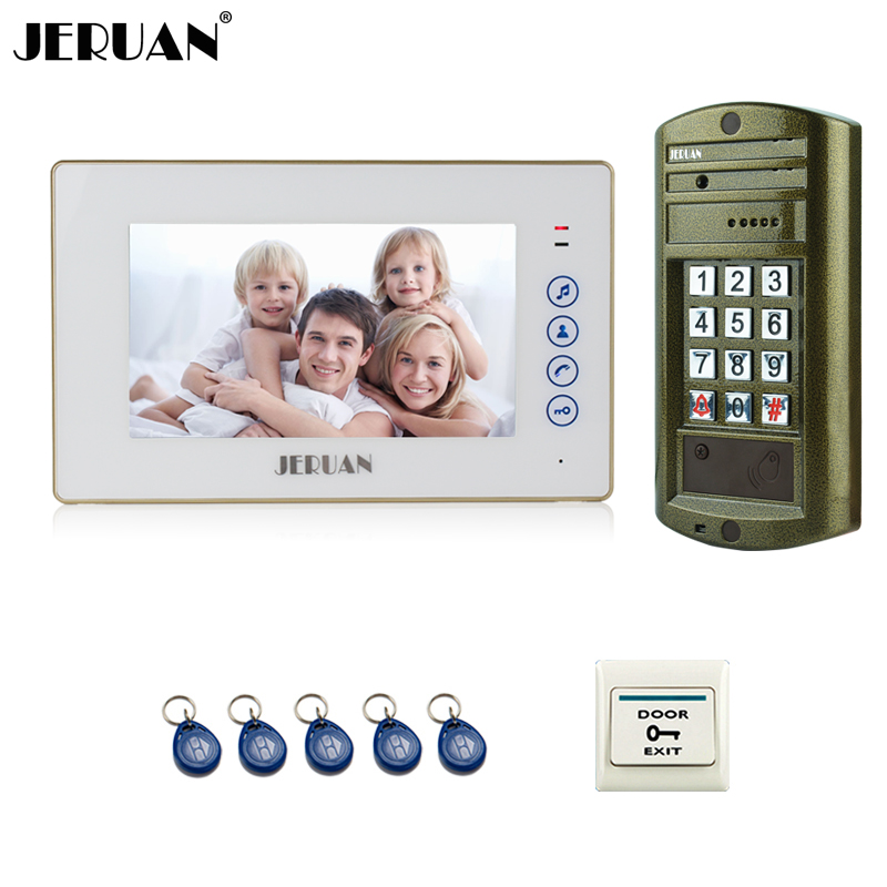 JERUAN 7 Inch Video Door Phone Intercom System kit 1 White Monitor + Metal panel Waterproof Password Keypad HD IR Mini Camera jeruan 8 inch video door phone high definition mini camera metal panel with video recording and photo storage function