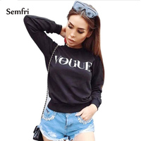 Semfri Women Fashion Brand Hoodie Letter Print Sweatshirt Knitted Long Sleeve Pullovers Polerones Mujer Harajuku Tops 2019