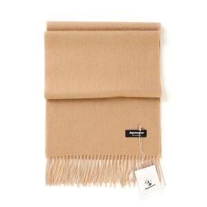 Image 1 - Bufandas de Cachemira de 100% liso para mujer, pañuelo grueso y cálido con borlas, para invierno, gran oferta