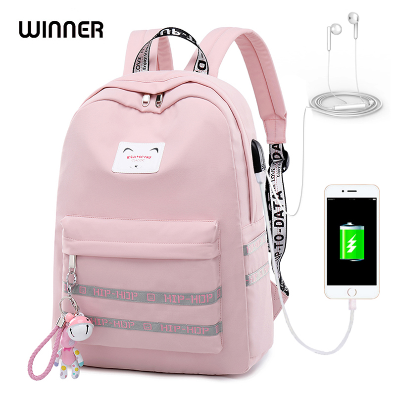 WINNER 2018 Waterproof USB Charging Women Backpack Mochila for Womens School Bag Pack Laptop Backpack Cute Bell Pendant Backbag in Backpacks from Luggage Bags