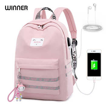 WINNER 2018 Waterproof USB Charging Women Backpack Mochila for Womens School Bag Pack Laptop Backpack Cute Bell Pendant Backbag - DISCOUNT ITEM  41% OFF All Category