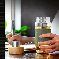 400ml Glass Transparent Clear Water Bottle With Tea Infuser Filter Drink Outdoor Office Travel Cup Mug